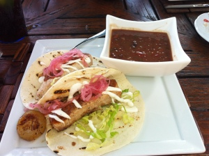 Pescado Tacos- Mahi Mahi, Pickled Onions, & Salsa with a side of beans