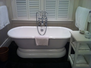 My favorite room feature- deep freestanding tub!