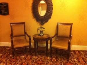 Cute sitting areas on each floor with rotary phones that worked